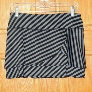 Athleta Fly By Black Stripe Shorts Skirt Skort